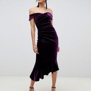 ASOS Purple velvet off the shoulder dress